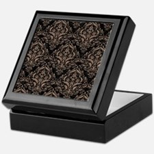 DAMASK1 BLACK MARBLE & BROWN COLORED Keepsake Box
