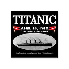 """Titanic Ghost Ship (black) Square Sticker 3"""" x 3"""""""