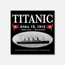 "Titanic Ghost Ship (black) Square Sticker 3"" x 3"""