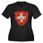 Swiss Coat of Arms Distressed Women's Plus Size V-