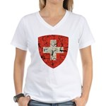 Swiss Coat of Arms Distressed Women's V-Neck T-Shi