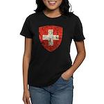 Swiss Coat of Arms Distressed Women's Dark T-Shirt