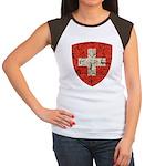 Swiss Coat of Arms Distressed Women's Cap Sleeve T
