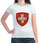 Swiss Coat of Arms Distressed Jr. Ringer T-Shirt