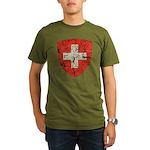 Swiss Coat of Arms Distressed Organic Men's T-Shir