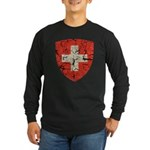 Swiss Coat of Arms Distressed Long Sleeve Dark T-S