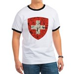 Swiss Coat of Arms Distressed Ringer T