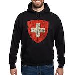 Swiss Coat of Arms Distressed Hoodie (dark)