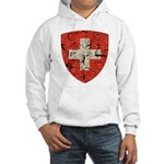 Swiss Coat of Arms Distressed Hooded Sweatshirt