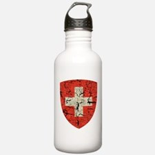 Swiss Coat of Arms Distressed Water Bottle
