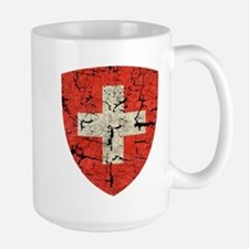 Swiss Coat of Arms Distressed Large Mug