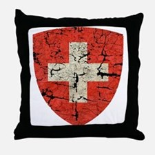 Swiss Coat of Arms Distressed Throw Pillow