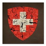 Swiss Coat of Arms Distressed Square Car Magnet 3