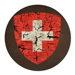 Swiss Coat of Arms Distressed Round Car Magnet