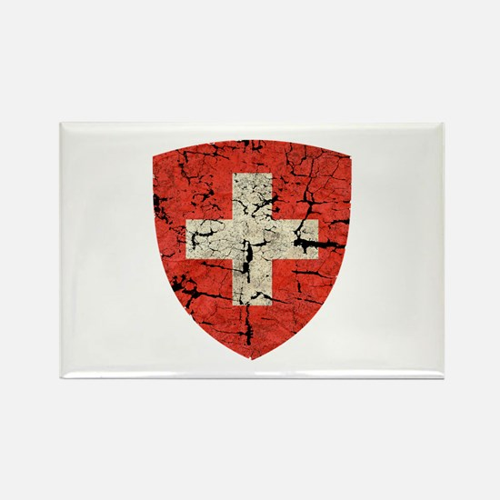 Swiss Coat of Arms Distressed Rectangle Magnet