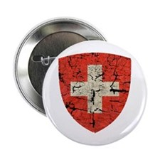 """Swiss Coat of Arms Distressed 2.25"""" Button"""