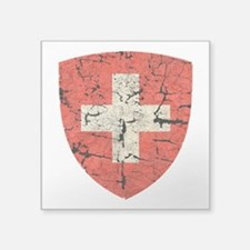 "Swiss Coat of Arms Distressed Square Sticker 3"" x"