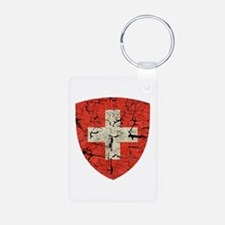 Swiss Coat of Arms Distressed Keychains