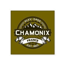 "Chamonix Olive Square Sticker 3"" x 3"""