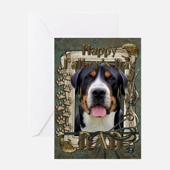 Fathers Day Stone Paws Swissie Greeting Card