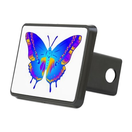 Blue Butterfly Rectangular Hitch Cover