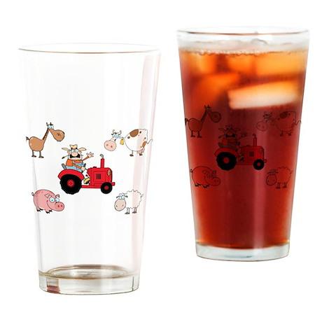 Cute Farm Animals Drinking Glass
