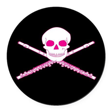 Flute Music Skull Round Car Magnet