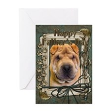 Fathers Day Stone Paws Shar Pei Greeting Card