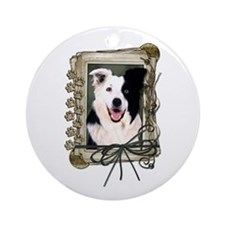 Fathers Day Stone Paws Border Collie Ornament (Rou