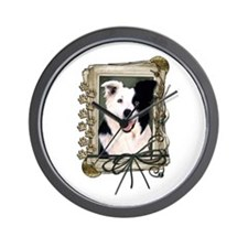 Fathers Day Stone Paws Border Collie Wall Clock