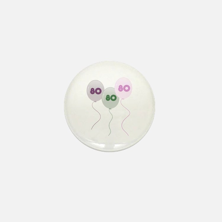 80th Birthday Balloons Mini Button (10 pack)