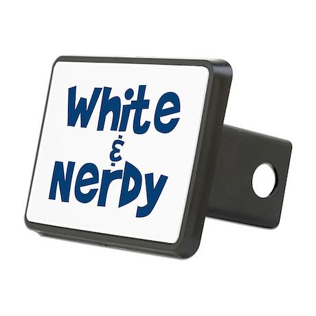 White & Nerdy Rectangular Hitch Cover