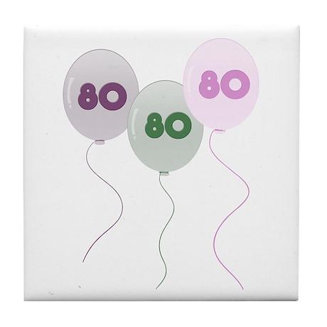 80th Birthday Balloons Tile Coaster