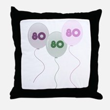 80th Birthday Balloons Throw Pillow