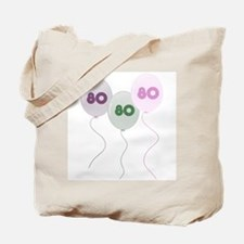 80th Birthday Balloons Tote Bag