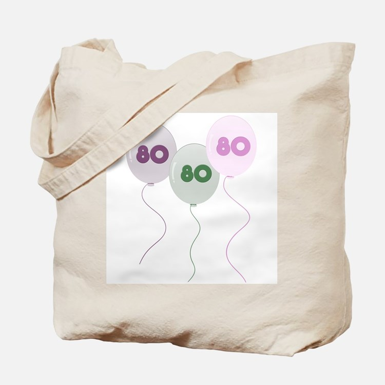80th Birthday Balloons Tote Bag