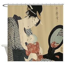 Kitagawa Utamaro Mother and Child Shower Curtain