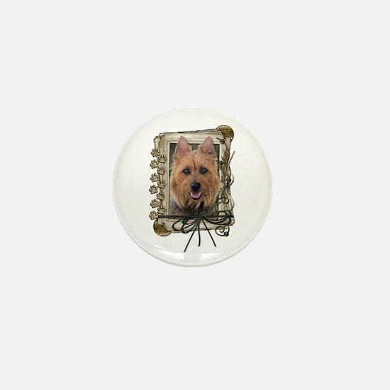 Fathers Day Stone Paws Aussie Terrier Mini Button