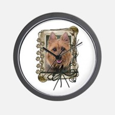 Fathers Day Stone Paws Aussie Terrier Wall Clock