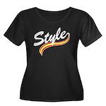 Style cursive white Women's Plus Size Scoop Neck D