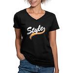 Style cursive white Women's V-Neck Dark T-Shirt