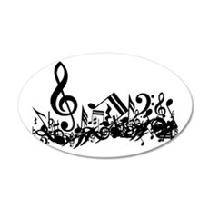 Black Musical Notes.png 22x14 Oval Wall Peel