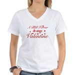 A Bull Terrier is my valentines Women's V-Neck T-S