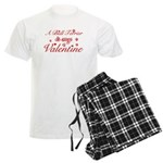 A Bull Terrier is my valentines Men's Light Pajama