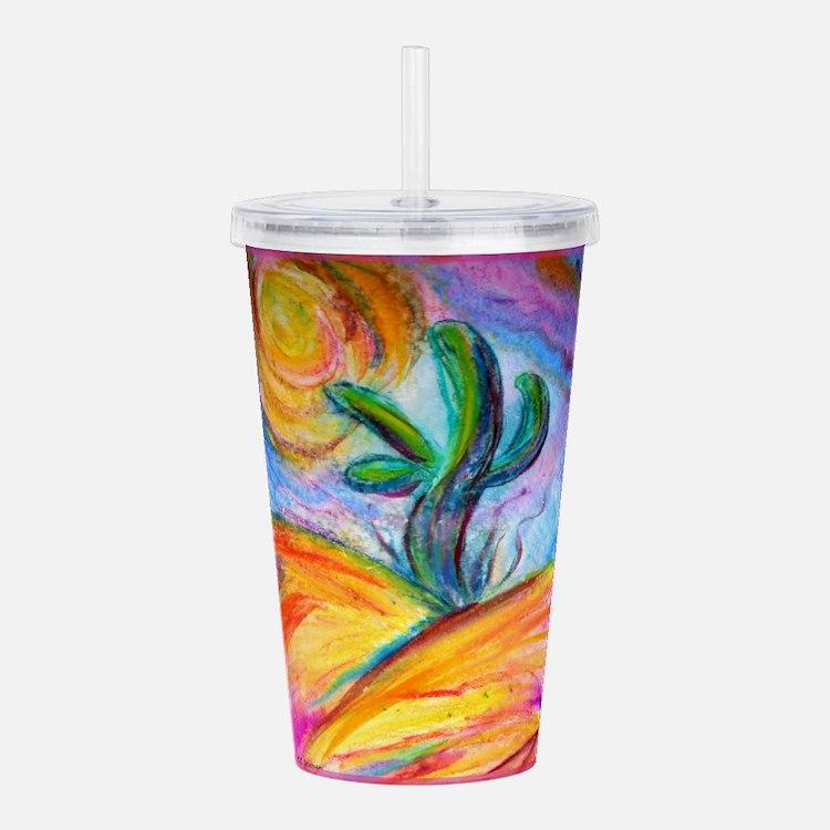 Saguaro cactus, colorful art. Acrylic Double-wall
