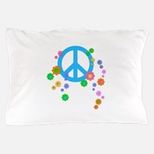 Peace sign and Flowers Pillow Case