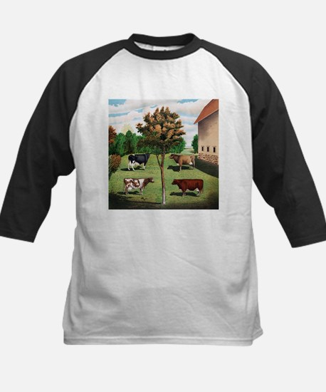 Vintage Cow Art Kids Baseball Jersey