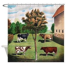 Vintage Cow Art Shower Curtain