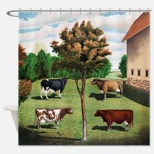 Vintage Cow Art Shower Curtain