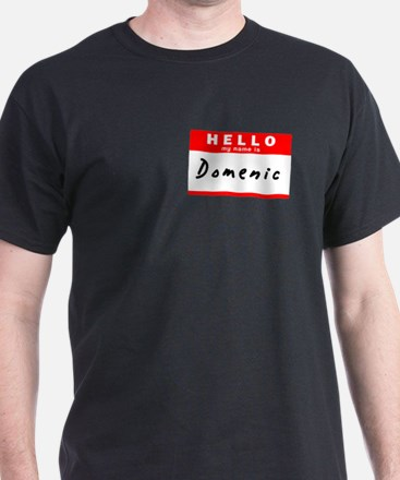 Domenic, Name Tag Sticker T-Shirt